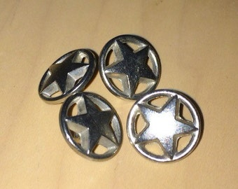 Lot of 4 Round Metal Star Shank Buttons