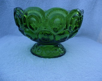 Vintage Moon & Stars Green Compote