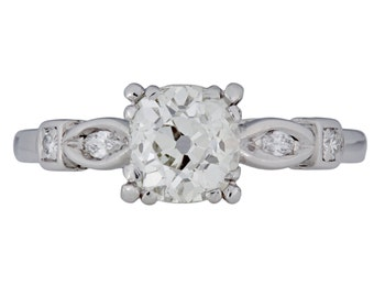 Vintage .97 carat Old Mine Diamond Platinum Engagement ring. Circa 1930.
