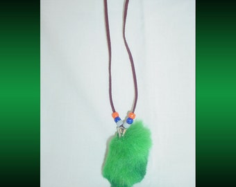 Lucky Rabbit Foot Necklace with Leather Suede Cord