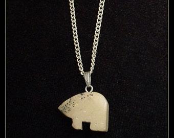 Stone Bear Pendant Necklace
