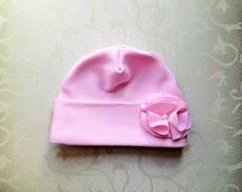 Pink Jersey Knit Baby Girl Hat with Flower