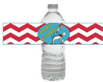 Dr. Seuss Birthday Party Printable Drink Label Instant Download