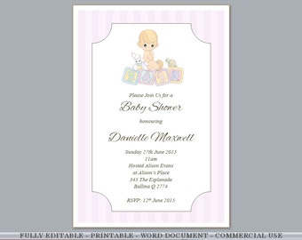 Printable Fully Editable Pink Teddybear Twins Baby Girl - Baby shower invitations templates download free
