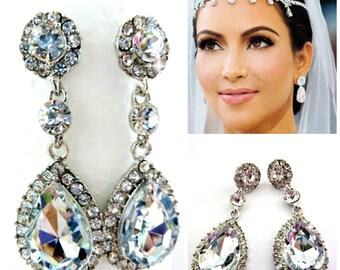 Kim Kardashian Bridal Wedding Earrings,Bridal Earrings ,Teardrop Cubic Zirconia , Bridal Jewelry Earrings, Bridal Wedding Jewelry