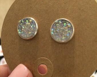 Faux druzy earrings 10mm in size