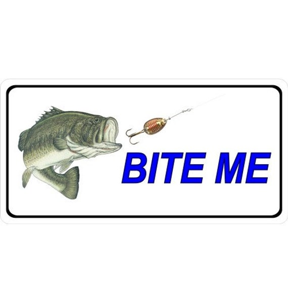 Bite me fish and lure photo license plate lpo2403 for Buy illinois fishing license online
