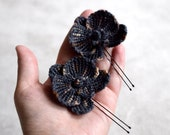 Steampunk orchid hairpins, dark grey black brown orchid flowers, crocheted wool orchid flowers, black Phalaenopsis Orchids