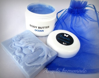 Ocean Body Butter & Soap Gift Set, Organic Body Butter  Soap Gift Set, Bath and Beauty Gift Set For Her, Gift Under 15 For Her, Body Cream.