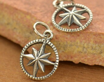 Small Sterling Silver Starburst Compass Charm