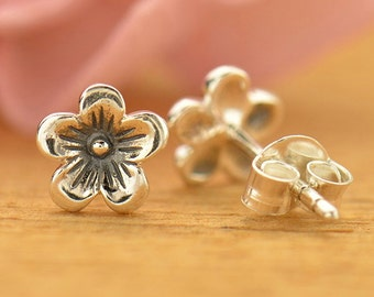 Sterling Silver Cherry Blossom Post Earrings - 1 Pair