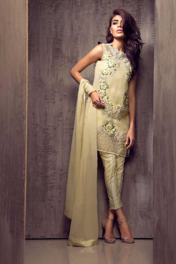 Pakistani Dress Elan Inspired Hand Embroidered Lemon Chiffon