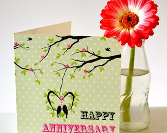 Love Birds Anniversary Card with added gems - JW GIFT, Greetings Card