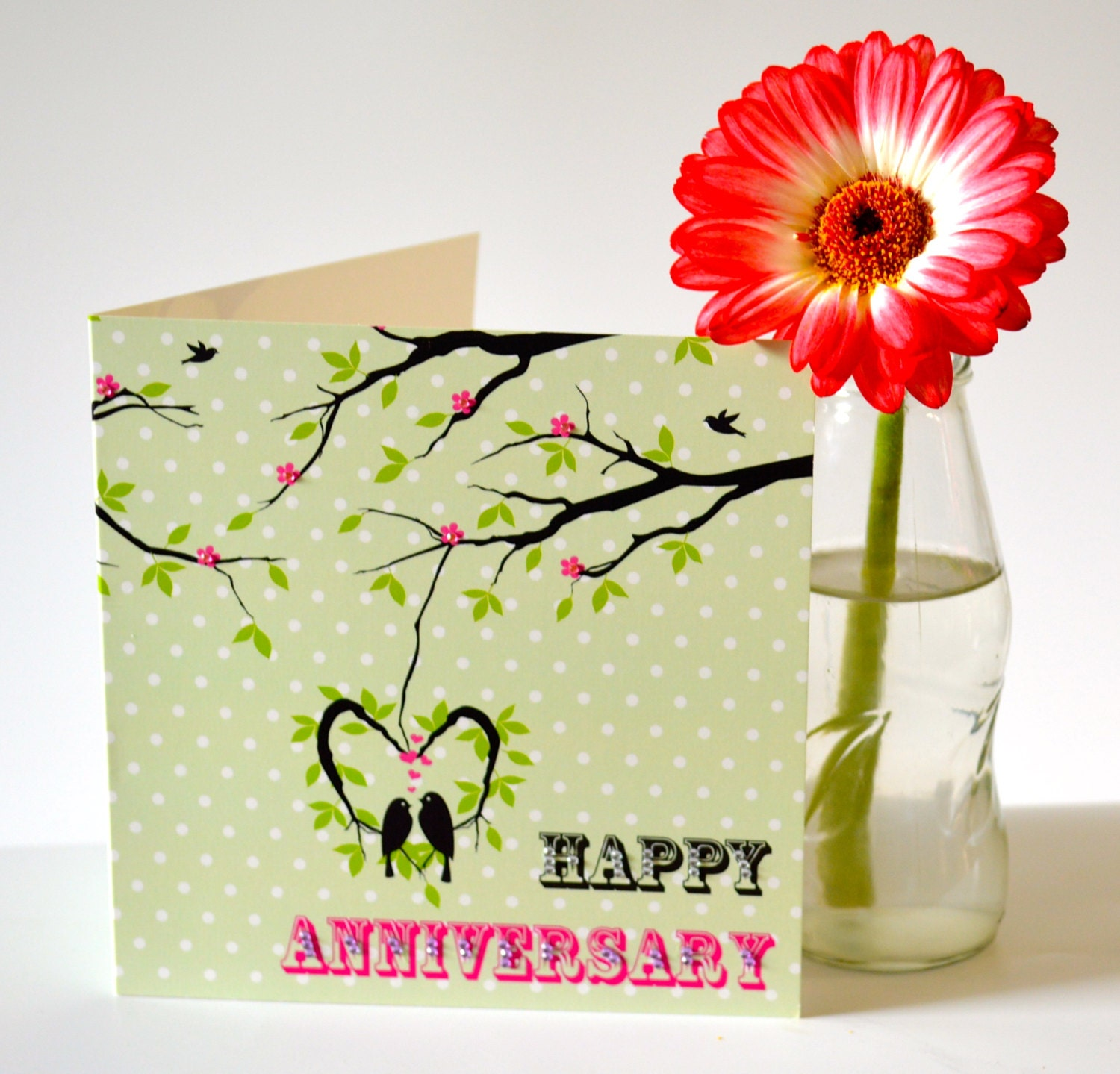 Love birds anniversary card with added gems jw by