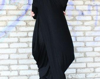 Black Asymmetrical Dress/ Maxi Extravagant Dress / Loose Kaftan/ Twisted Dress by Fraktura D0008