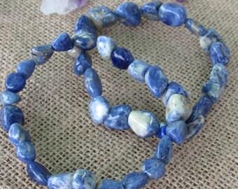 Blue Sodalite Healing Crystal Bracelet Jewelry,  Sodalite Bracelet w/ Reiki, Meditation, Chakras, Yoga Gift