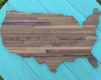 Reclaimed Wood United States Sign