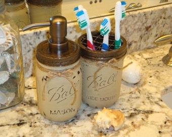 Ball Pint Mason Jar, 17 Additional Colors, Toothbrush Holder, Soap Dispenser, Kitchen, Bathroom, Bronze or Nickel Pump, Gift Set