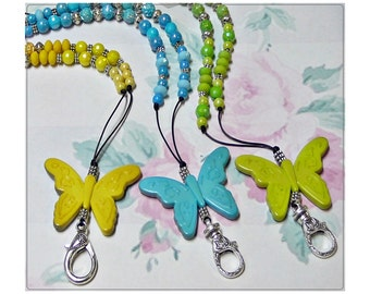 Beaded necklace Lanyard, Work ID badge holder - Butterflies on cord