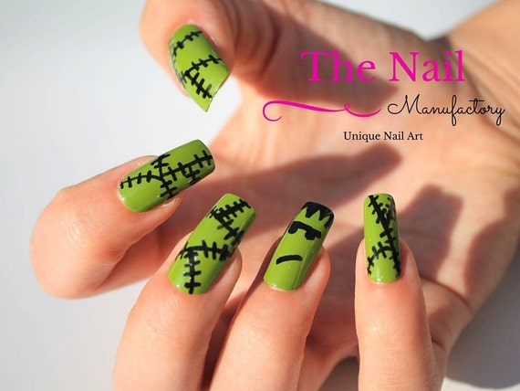 Green Monster False Nails - Halloween Fake Nails - Square ...