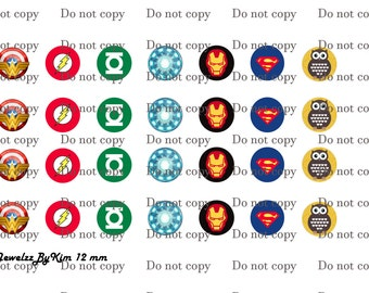12 mm Digital Collage sheet Superhero images for scrapbook or cabochon glass jewelry making
