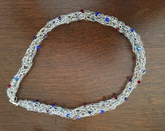 5527  Handmade crocheted sterling silver round necklace with swarovski crystals