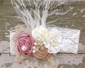 Ivory, pink and taupe girls shabby feather vintage, lace, headband, newborns, toddlers, infants, pearl, rhinestone, shabby chic, white