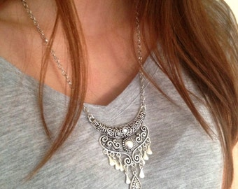 Ethnic Necklace, Bohemian necklace, Tribal necklace, Boho Necklace, Long silver necklace, Belly Dance Necklace, UK Seller
