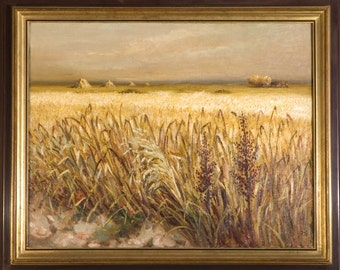 Wheat field oil painting, French scenery, Oil on canvas, Marcel Dyf, french sign, Arles France 1935, postimpressionnism, COA, large wall Art