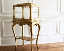 SOLD OUT***Louis XVI Style Antique Vanity Cabinet, French Vintage Perfume Cabinet, French Antique Display Case, Bathroom Cabinet