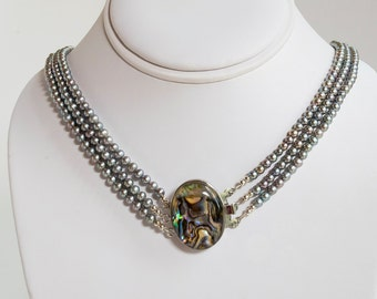 "20"" Long Triple-strand 4mm pearl necklace with Abalone clasp"