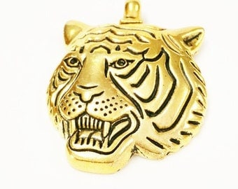 3 Tiger Charms, Antique Gold tone Tiger Mascot Charms, School Mascot Charms, Animal Charms, Cat Charms, Jewelry Making Supplies, 769