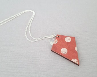 Red necklace, sterling silver necklace, wood pendant, statement necklace, decoupage necklace, red pendant, gift for her
