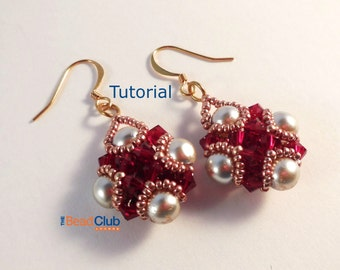 Earrings Pattern, Beading Pattern, Beading Tutorial, PDF- Amira Earrings Tutorial