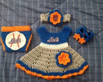 Crochet NY Mets baby dress set