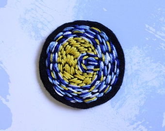 Starry night embroidered pin