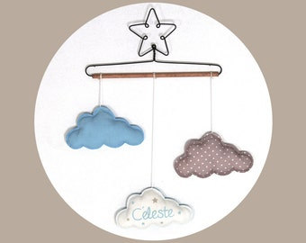 Mobile name baby star and clouds - sky blue and beige wall Decoration