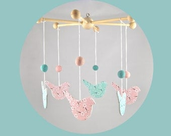 Mobile baby wood birds and cherry blossoms - mint green and pink