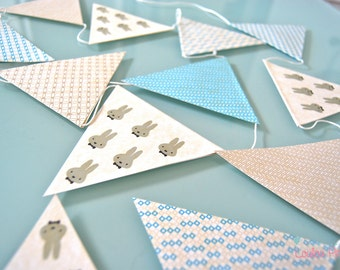 Garland pennants rabbits, recycled paper