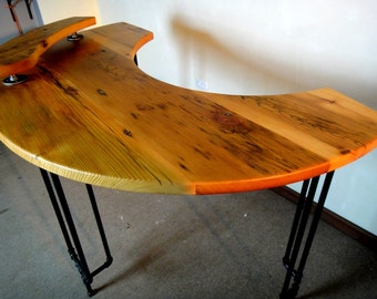 Curved Desk, Reclaimed Wood Desk, Computer Desk, Writers Desk, Standing Desk, Reception Desk, Work Station, Modern Desk, Industrial Desk