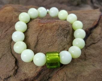 Jade Colored Glass Beaded Bracelet