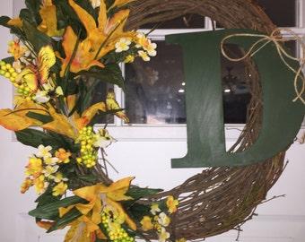 Custom Door Wreath with initial