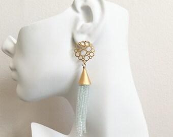 Light Blue Beaded Tassel Earrings - Tassel Earrings - Blue Tassel Earrings - Bohemian Tassel Earrings - Beaded Fringe Tassel Earrings
