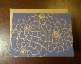 Zinnia card, hand printed, linocut, block print, 4x5.5