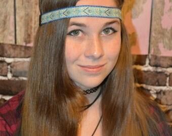 Light Blue Ribbon Headband