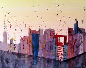 """Modern and original watercolor """"La Défense"""" business district, Paris, painting, city"""