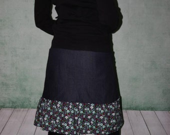 Jeans skirt layers skirt stages step skirt flowered size S - L