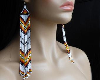 Native American Beaded Earrings Inspired. Yellow, Black, Orange, Red, White Earrings. Beaded Jewelry. Beadwork, LLNA01