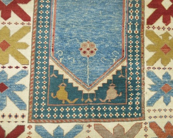 Vintage Inspired Turkish Konya Rug Size 4'9''x6'1''
