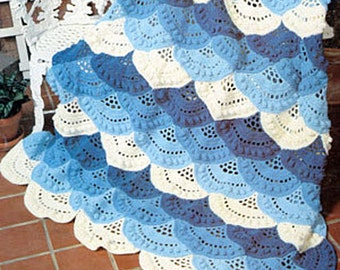 Instant PDF Download Vintage Crochet Pattern to make A Pretty Layered and Scalloped Afghan Blanket Cover or Rug